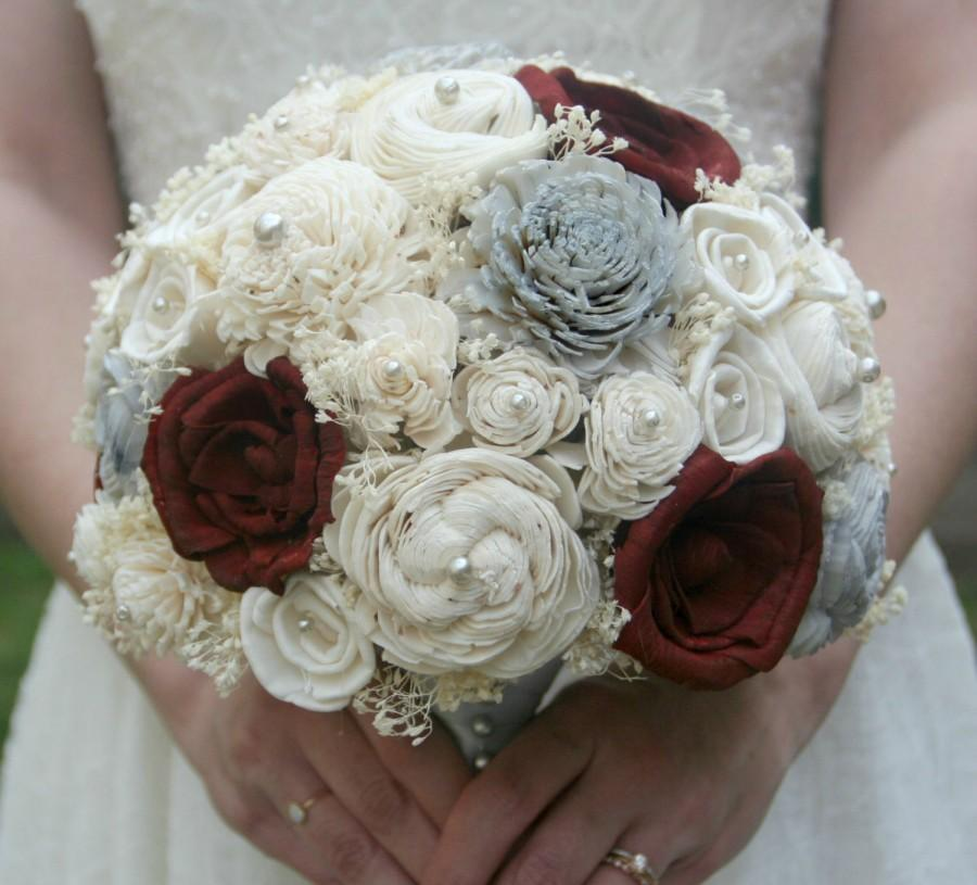 Свадьба - Wedding Bouquet - Maroon, Grey, Sola Flowers // Winter, Holiday, Bridal Bouquet, Sola Rose, Flower Bouquet, Red, Wedding Flowers, Bouquet