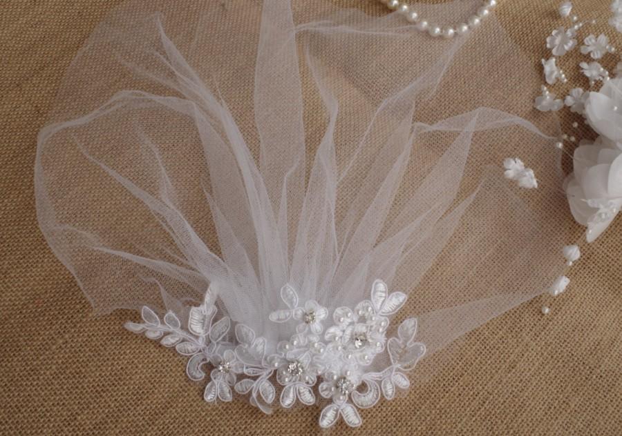 Hochzeit - Veil Lace Pearls Birdcage Ivory Tulle Veil Vintage Style Petite Veil Mini Blusher Illusion Tulle Veil Style Petite Veil Mini Blusher