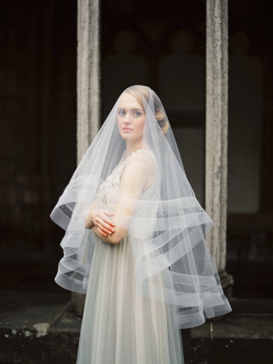 Свадьба - Double horsehair ribbon veil with blusher, horsehair wedding veil, horsehair bridal veil, circle wedding veil, drop veil, Style V32