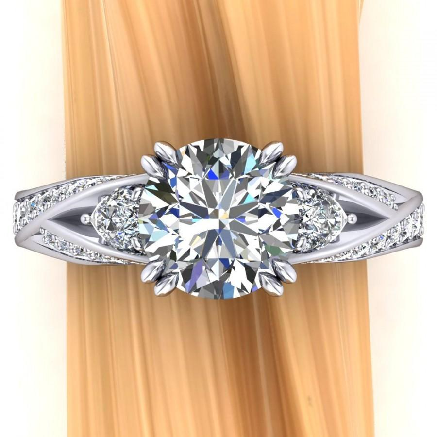 Свадьба - Platinum Diamond Engagement Ring, 2 Carat 3 Stone Ring with Interwoven Shank Design - Free Gift Wrapping