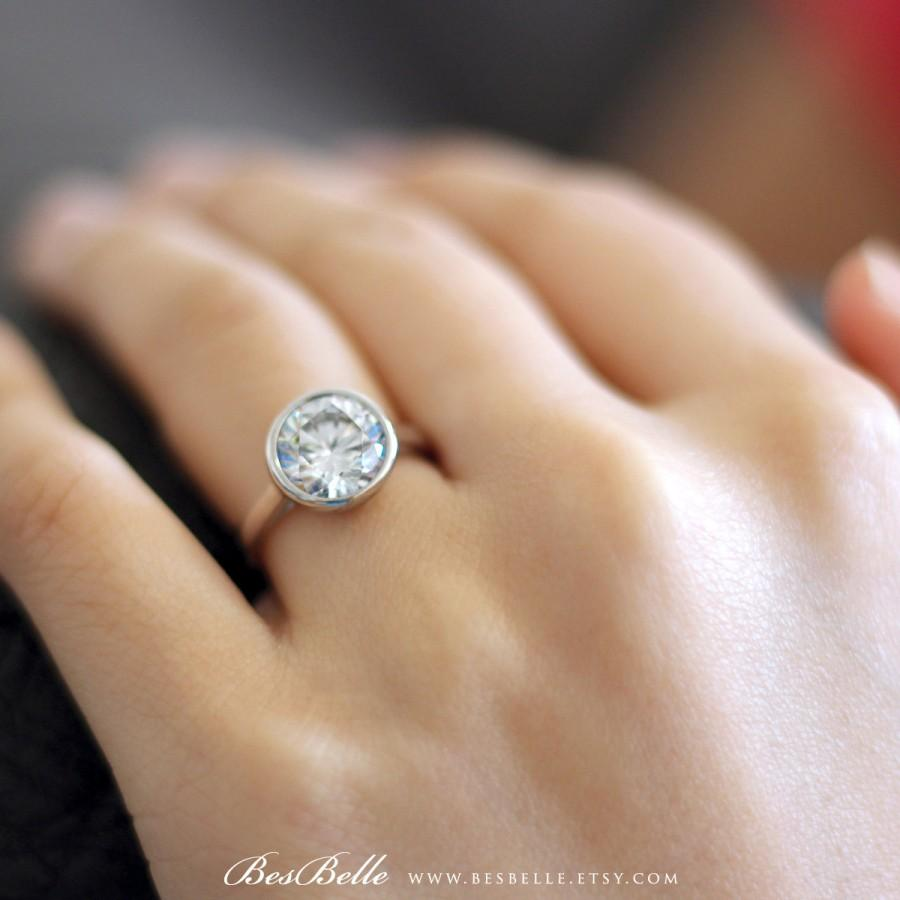 simple rings set wedding engagement bezel design