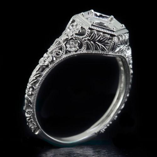 زفاف - Platinum Art Nouveau Inspired Engagement Ring Setting Handcrafted Vintage Engraved Filigree Floral Semi-Mount Round 6 mm 8052-PT