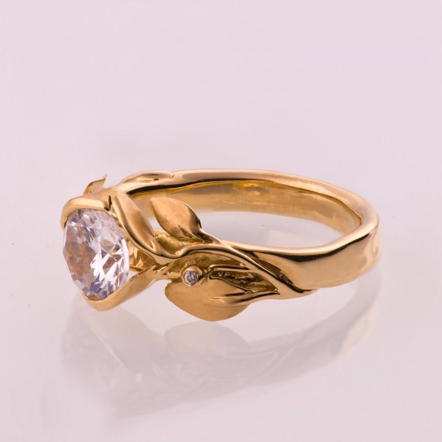 Свадьба - Leaves Engagement Ring No. 10 - 14K Rose Gold and Moissanite engagement ring, leaf ring, 1ct forever one moissanite engagement ring