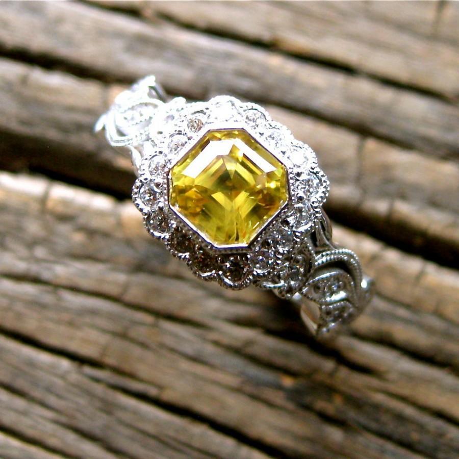 زفاف - Asscher Cut Yellow Sapphire Engagement Ring in 14K White Gold with Diamonds in Flowers and Leafs on Vine Motif Size 6