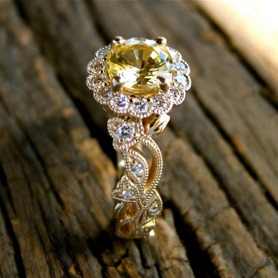 زفاف - Yellow Sapphire Engagement Ring in 14K Yellow Gold with Diamonds in Leafs and Flower Blossoms Size 5