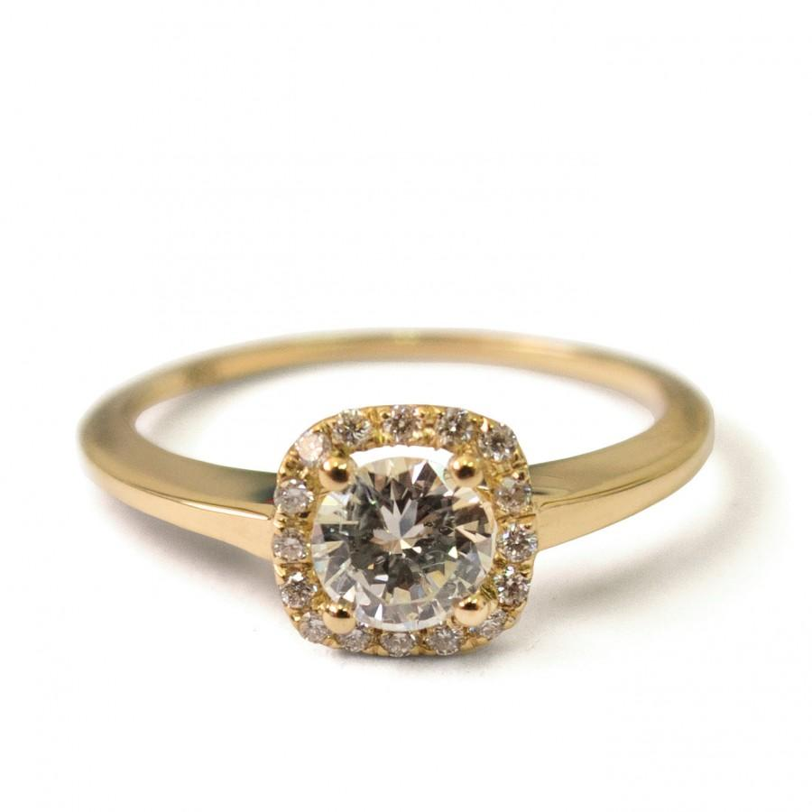 Mariage - Engagement Ring Halo Ring - 14K Gold and Diamond engagement ring,Halo Ring, engagement ring, wedding band, crown ring, art deco, edwardian,