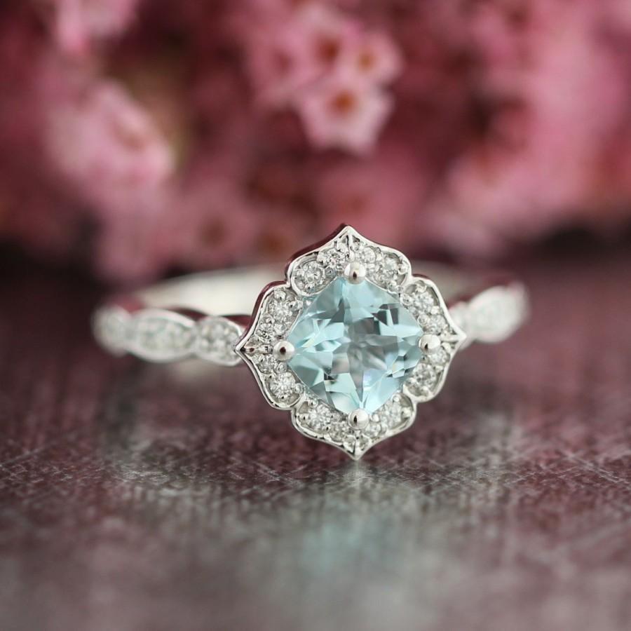 Mariage - Mini Vintage Floral Aquamarine Engagement Ring 14k White Gold Scalloped Diamond Wedding Band 6x6mm Cushion Cut Color Gemstone Ring