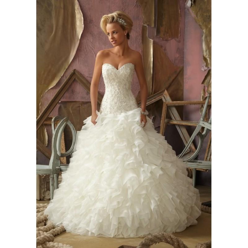 Wedding - Mori Lee 1853 Beaded Ruffle Wedding Dress - Crazy Sale Bridal Dresses