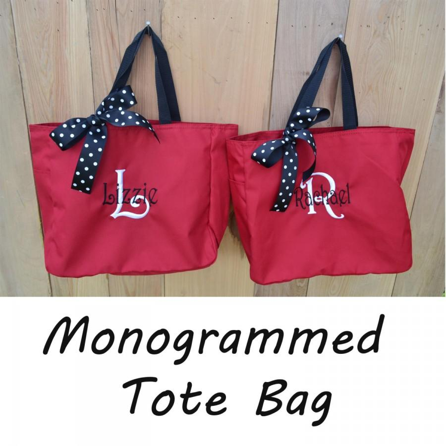 Mariage - 8 Monogrammed Bridesmaid Gift Totes, Personalized Tote Bags, Maid of Honor Gift, Mother of the Bride Gifts, Attendant Gift
