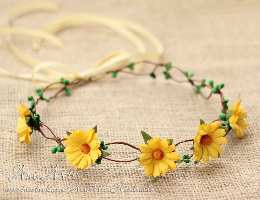 Свадьба - CLEARANCE! Daisy Flower Crown Boho Hair wreath Bridal Headband Boho Crown Flower Garland Wedding Headpiece Floral Crown Wedding garland