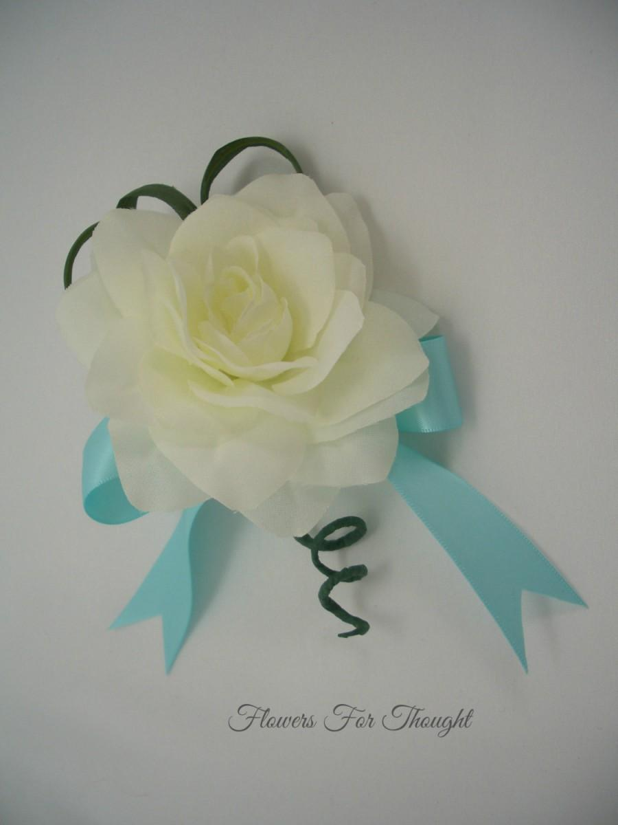 Свадьба - Creamy White Gardenia Pin or Wrist Corsage, Aqua, Silk Flower, Wedding, Prom, Homecoming, Special Occasion, FFT design, Made to order