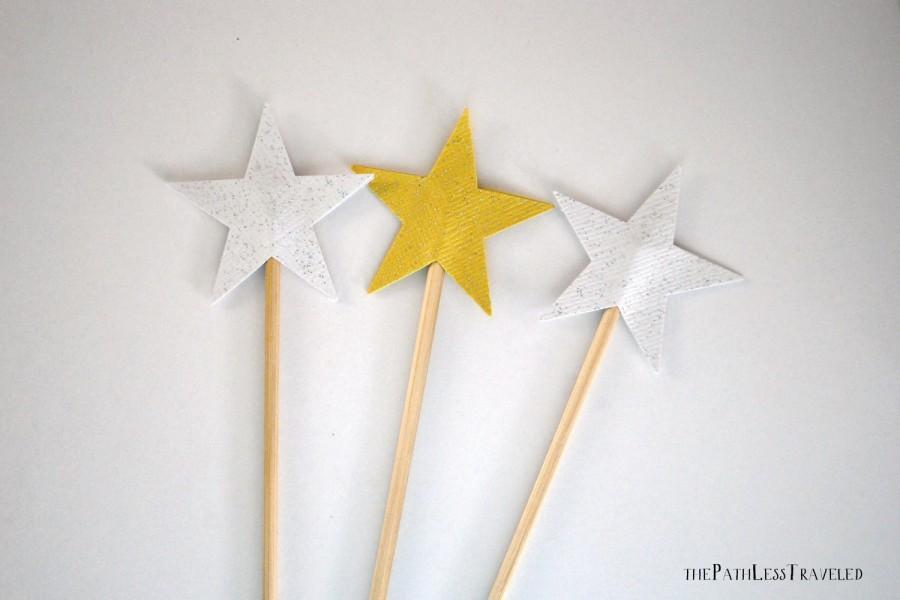 زفاف - Sparkly Star Pie Topper, cake topper or wand