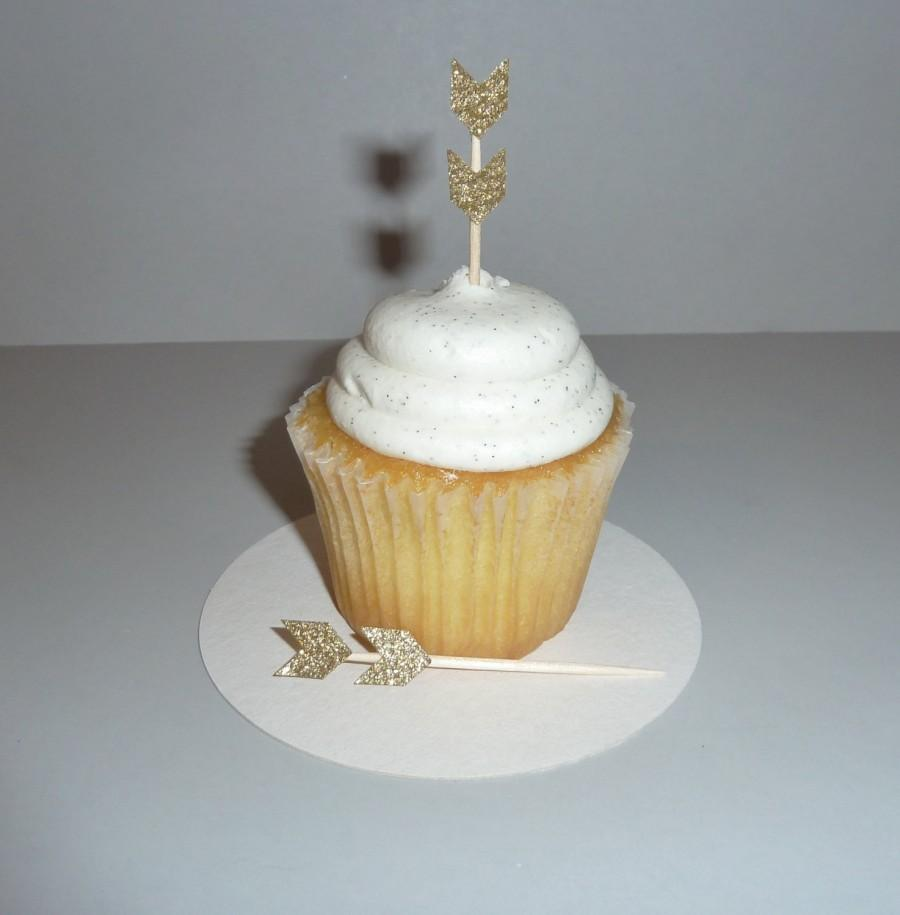 24 Gold Glitter Arrow Cupcake Topper Chevron Wedding Food