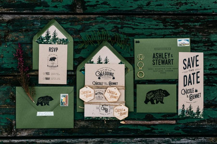 woodland and watercolor bear wedding invitation 2587143 weddbook