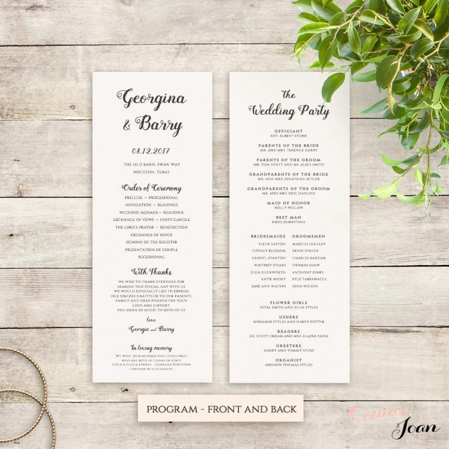 Mariage - Wedding Programs Printable instant download template. Be Mine. Edit, print, trim