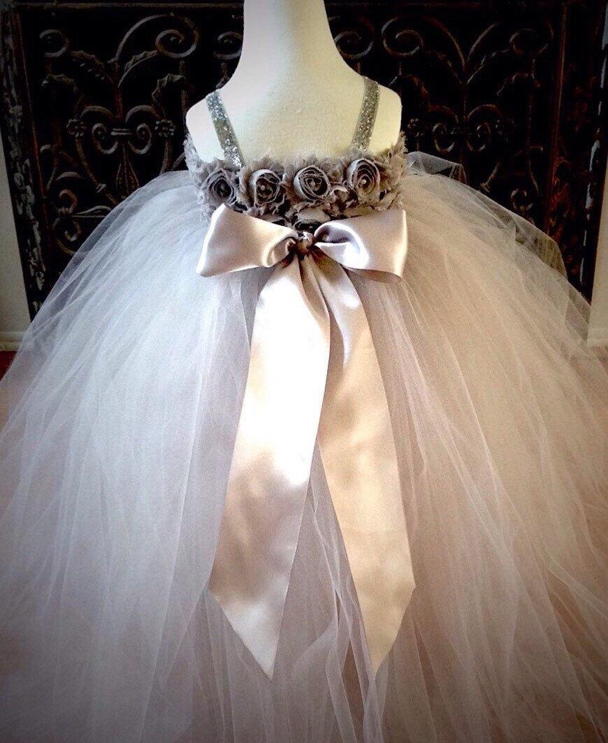 Wedding - Gray Silver Flower Girl Tutu Dress-Silver Flower Girl Dress-Ivory Flower Girl Dress-Rustic Flower Girl Dress-Girls Dress-Wedding Dress