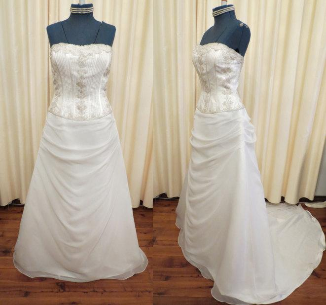 Свадьба - Vintage Sexy Off White Strapless Princess Wedding Dress with Long Train and Glass Bead and Sequin Details