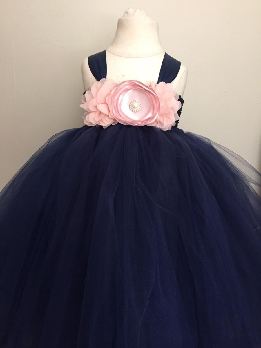 Girls Navy And Blush Pink Tulle Dress Navy And Light Pink Girls