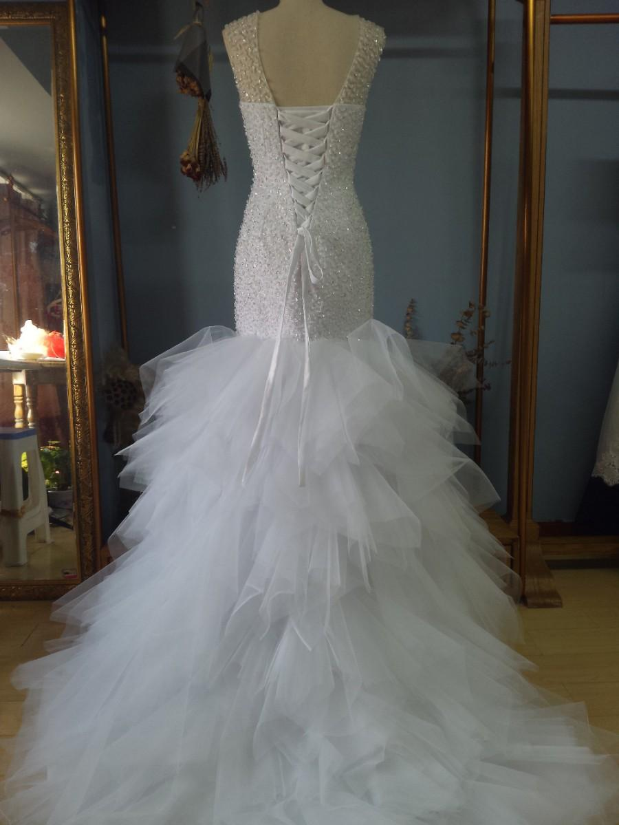 Wedding - Aliexpress.com : Buy V Neck Floor Length Tiered Mermaid Tulle Wedding Dress with Beaded Bodice from Reliable dress wedding shoes suppliers on Gama Wedding Dress