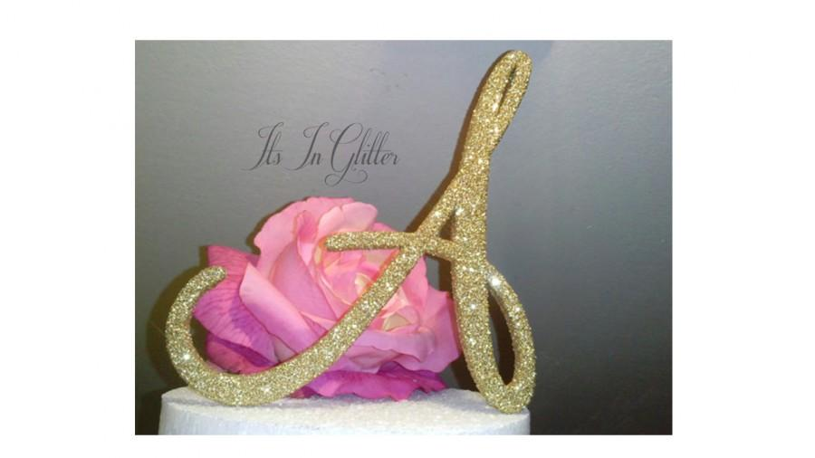 زفاف - Monogram cake topper 4 inch, Gold glitter bling cake toppers, antique wedding cake toppers, unique custom wedding cake toppers