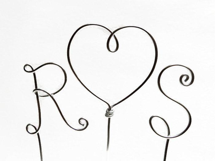 Wedding - Wire Monogram Initials Cake Topper With Heart - 2 1/4 Inch Letters Your Choice of Letters- Silver, Gold, Brown, Black, Red, Copper