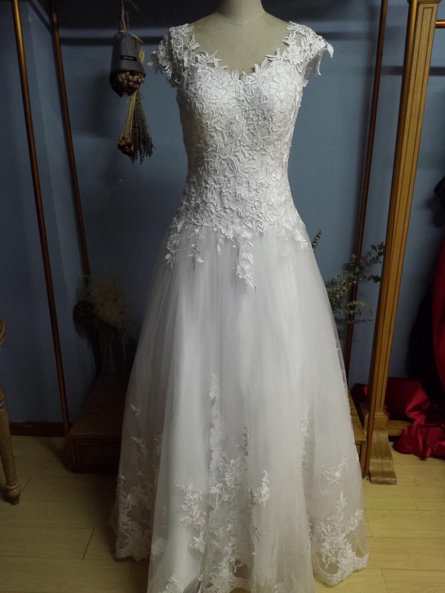 b2530469a Aliexpress.com : Buy A line Princess Floor Length Sheer Back Wedding Dresses  Bridal Gowns from Reliable gown dresses for sale suppliers on Gama Wedding  ...