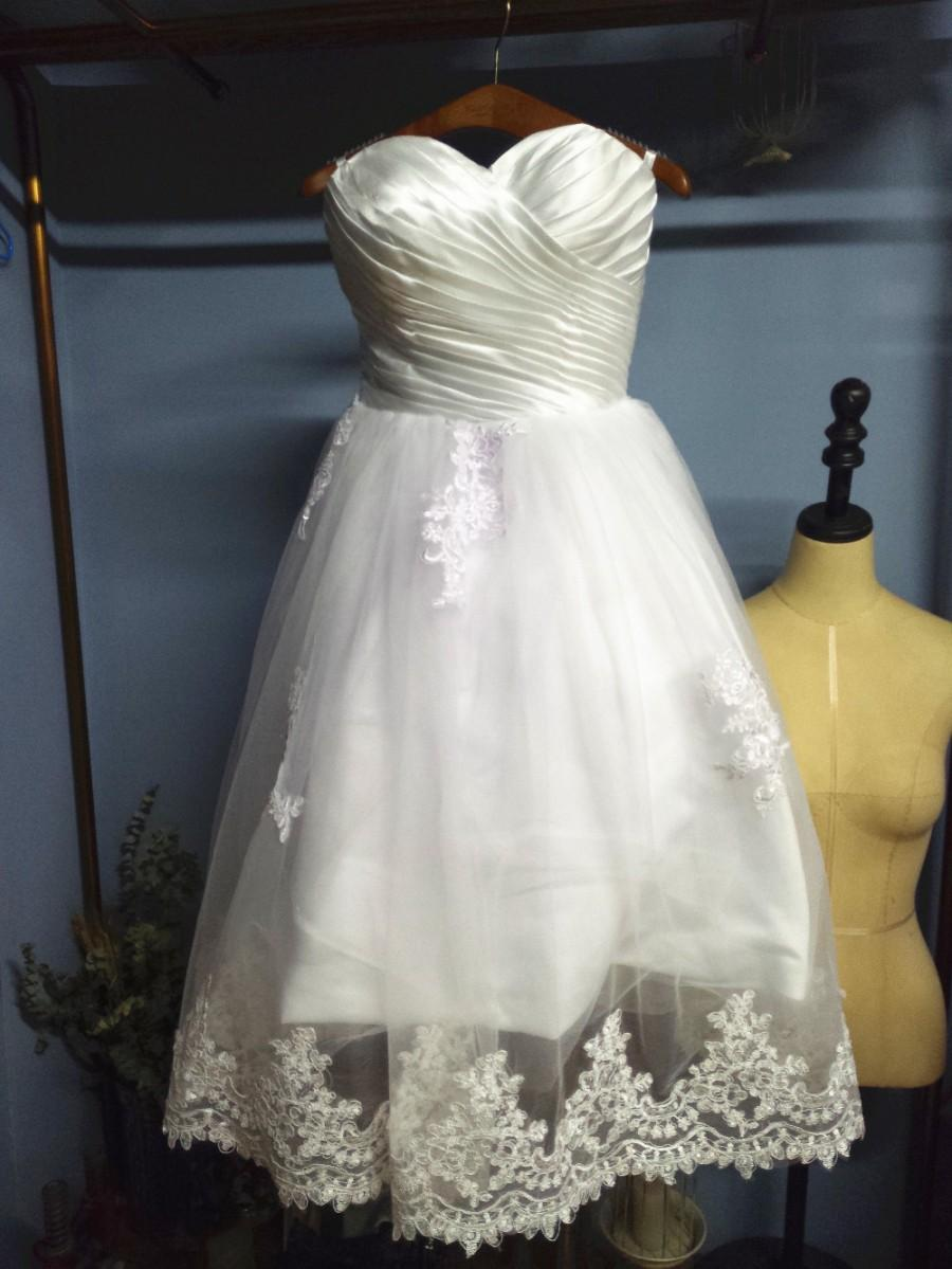 Buy sweetheart sleeveless white satin and for Calf length wedding dresses