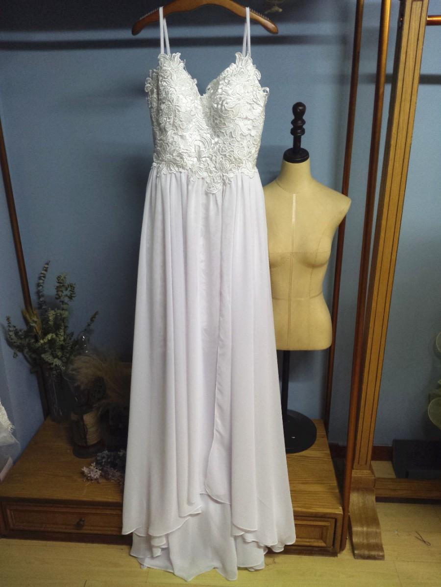 Mariage - Aliexpress.com : Buy Spaghetti Straps Lace Bodice and Chiffon Skirt Sumer Beach Wedding Dresses Boho Bridal Gowns from Reliable gown evening dress suppliers on Gama Wedding Dress