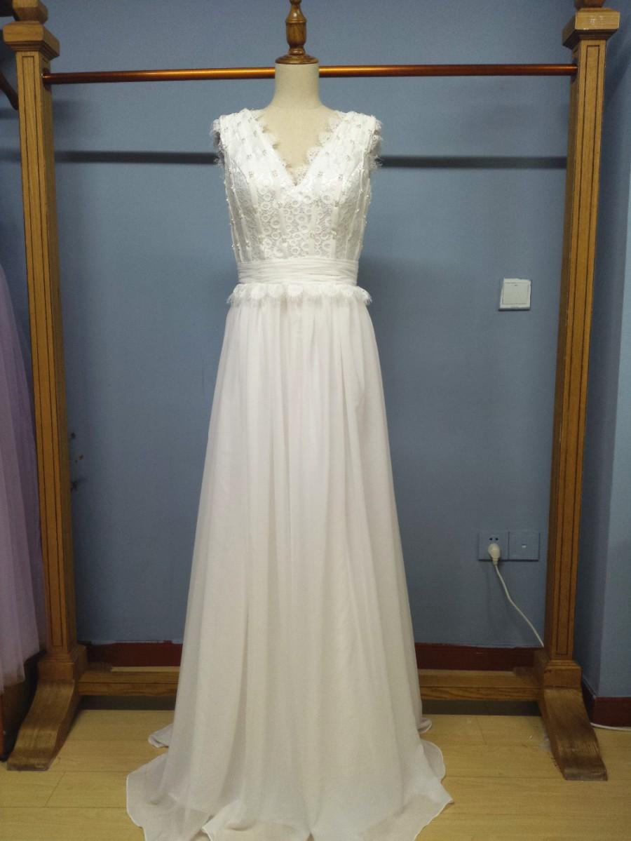 Aliexpress.com : Buy V Neck Floor Length Designer Wedding Dress ...