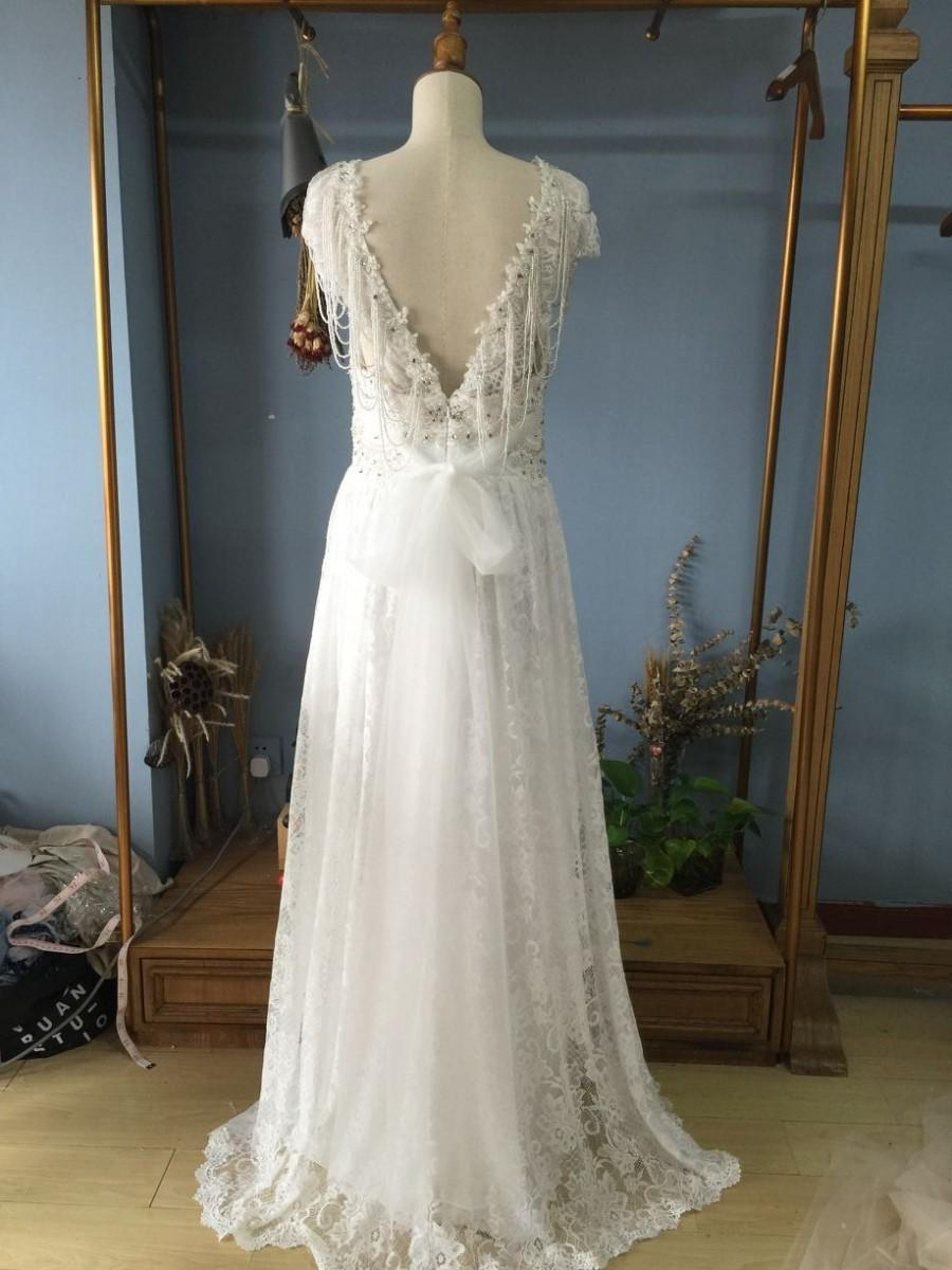 Wedding - Aliexpress.com : Buy Queen Ann Neckline Floor Length V back Boho Lace Wedding Dresses with Detachable Train and Bow from Reliable dress wedding muslim suppliers on Gama Wedding Dress