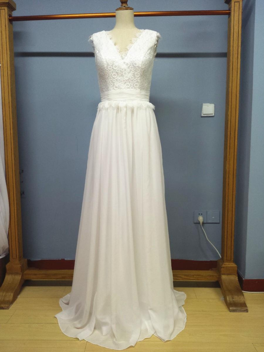80c8260ccb8a Aliexpress.com   Buy V Neck Floor Length Chiffon Summer Outdoor Wedding  Dresses from Reliable weddings suppliers on Gama Wedding Dress