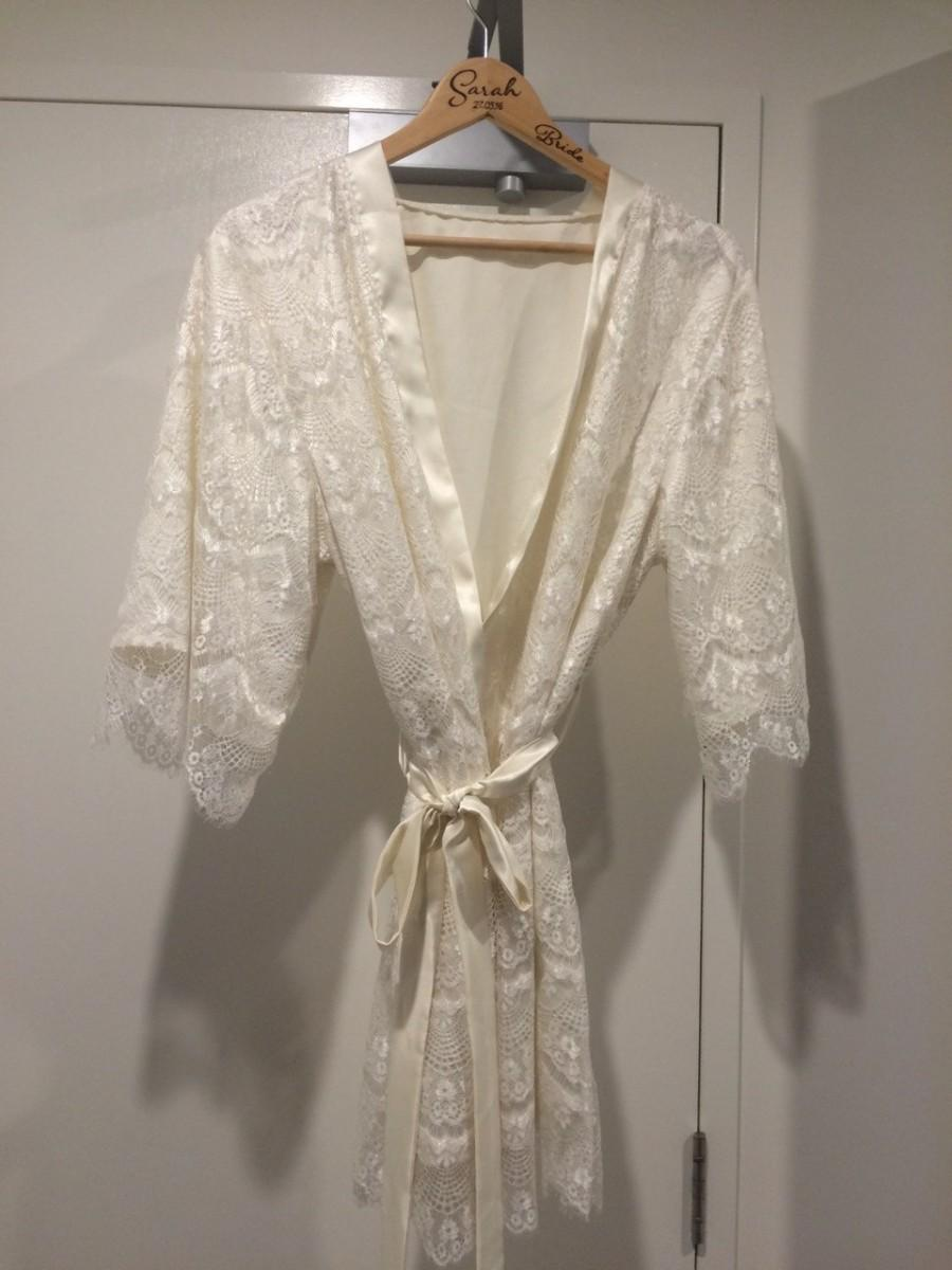 Mariage - Bridal satin and lace robe, wedding robe, Ivory and/or white lace robe