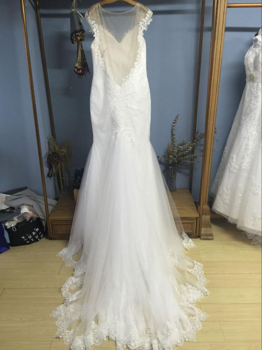 Wedding - Aliexpress.com : Buy V Neck Sheer Illusion Back Court Train Plus Size Trumpet/Mermaid Wedding Dresses from Reliable wedding dress with stones suppliers on Gama Wedding Dress