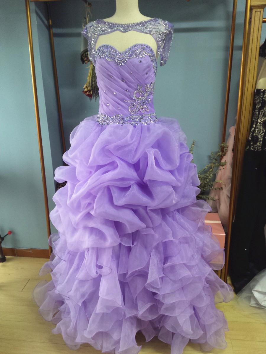 0bc06d00a28 Aliexpress.com   Buy Sweetheart Floor Length Lavender Ruffled Organza Ball Gown  Quinceanera Dresses with Removable Jacket Rhinestones (6) from Reliable ...