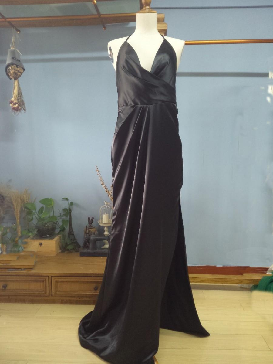 Aliexpress.com : Buy Halter Floor Length Black Silk Satin Film ...