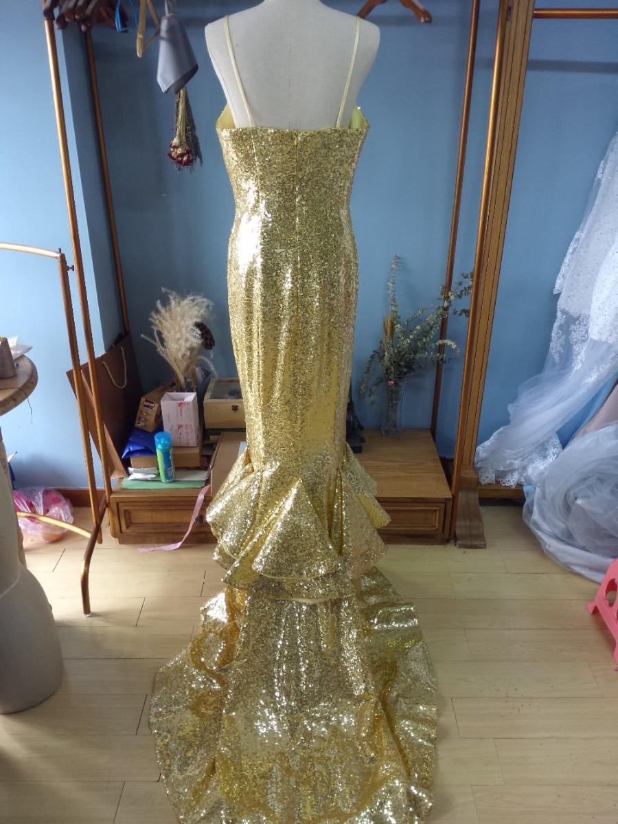 Wedding - Aliexpress.com : Buy Spaghetti Straps V Neck Court Train Gold Sequin Mermaid Prom Dress Formal Occasion Dress from Reliable dresse suppliers on Gama Wedding Dress