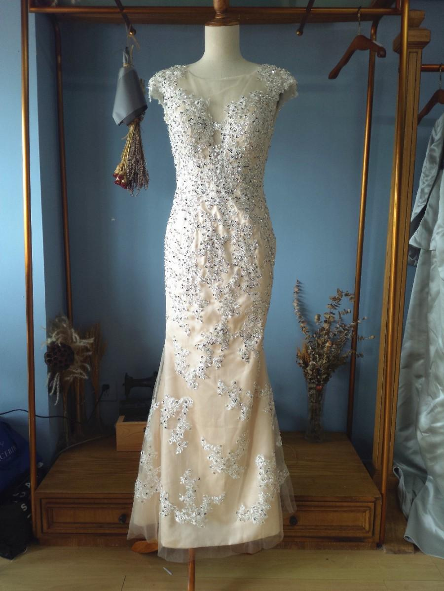 Buy illusion scoop neck floor length for Wedding dress appliques suppliers