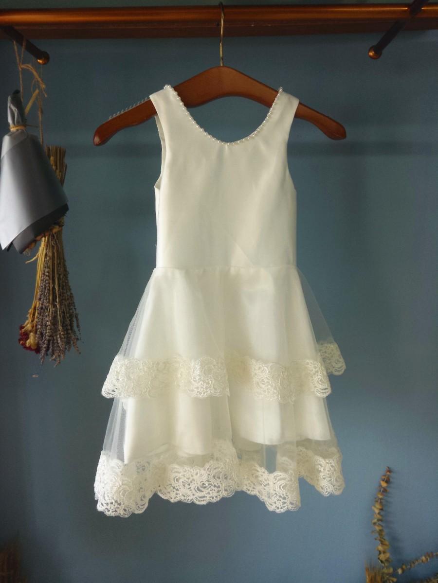 Aliexpress Buy Scoop Neck Ankle Length White Satin Flower Girl