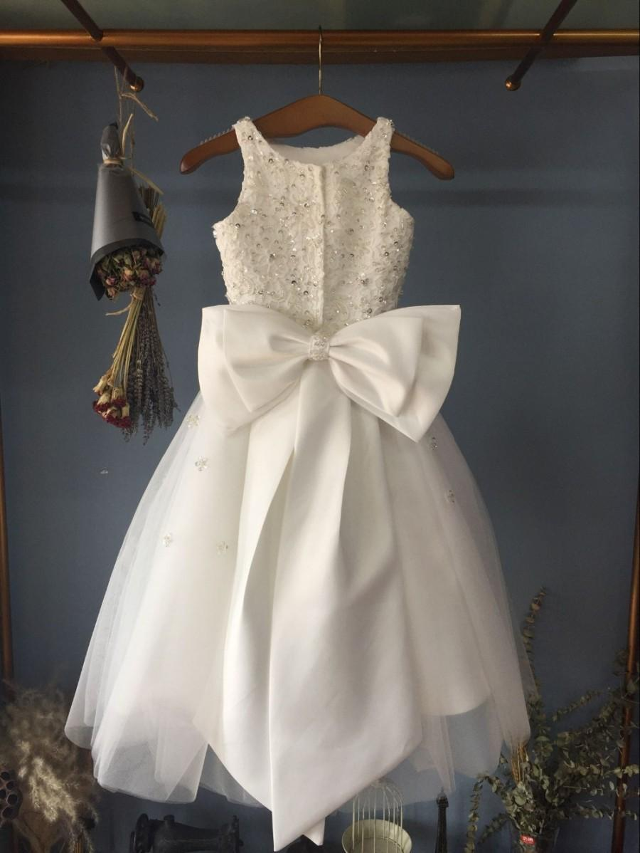 e84f2a994 Aliexpress.com : Buy Scoop Neckline Ankle Length Holy Communion Dress  Flower Girl Dress with Big Bow(s) from Reliable dress jewlery suppliers on  Gama ...