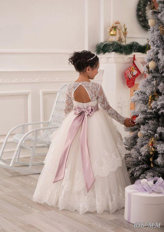 Wedding - Lace Ivory Flower Girl Dress - Wedding Party Birthday Bridesmaid Holiday Ivory Lace Tulle Flower Girl Dress
