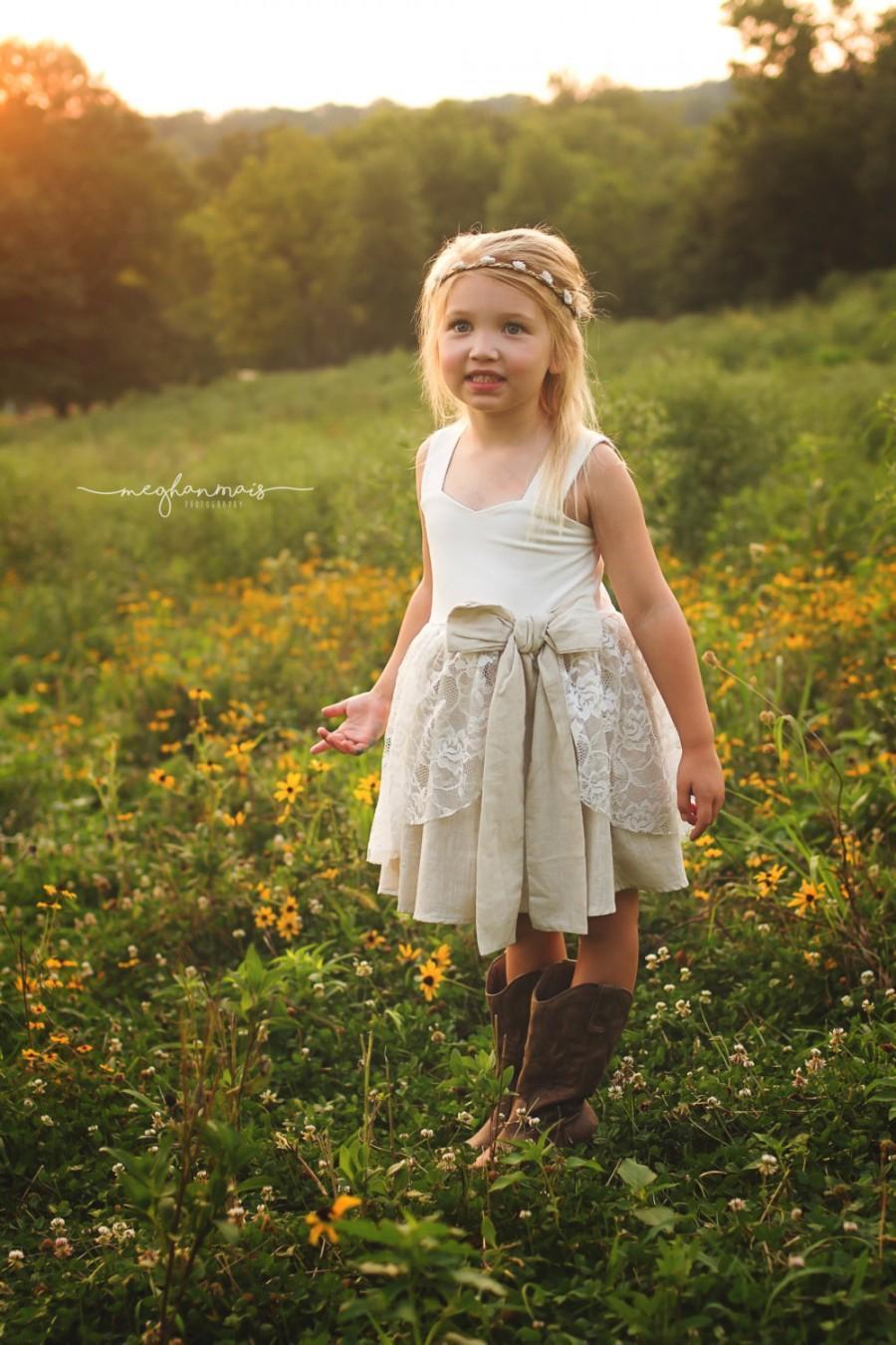 Country Rustic Flower Girl Dress Flower Girl Dress Boho Flower Girl