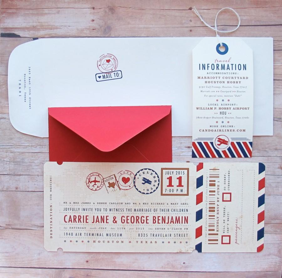 Airplane Boarding Pass Ticket Invitation With Luggage Tag Custom