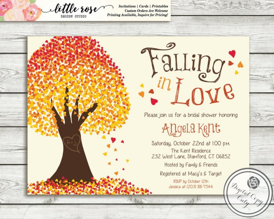 falling in love invitation fall bridal shower invite fall tree baby shower printable lr1017br orange