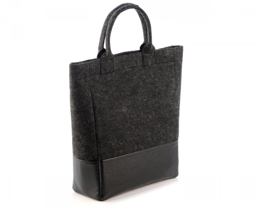 Wool felt bag simple black elegant for woman