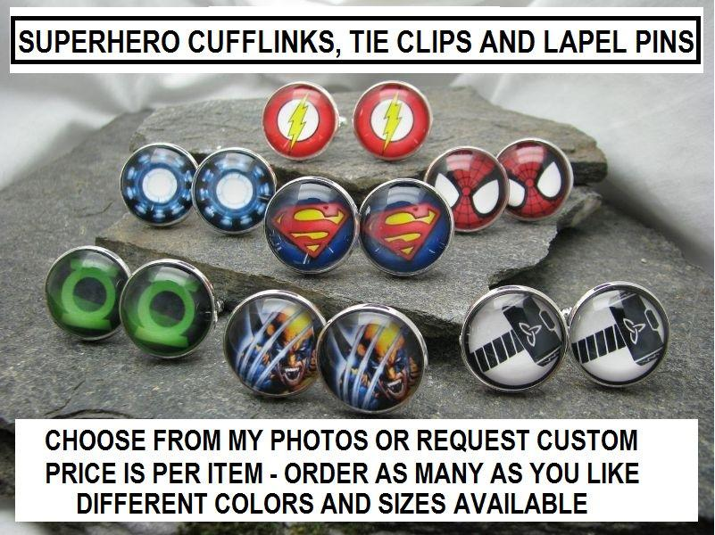 Свадьба - Super Hero Cuff Links, Wedding Cufflinks, groomsmen cufflinks, tie tack, tie bar, tie clip, lapel pin