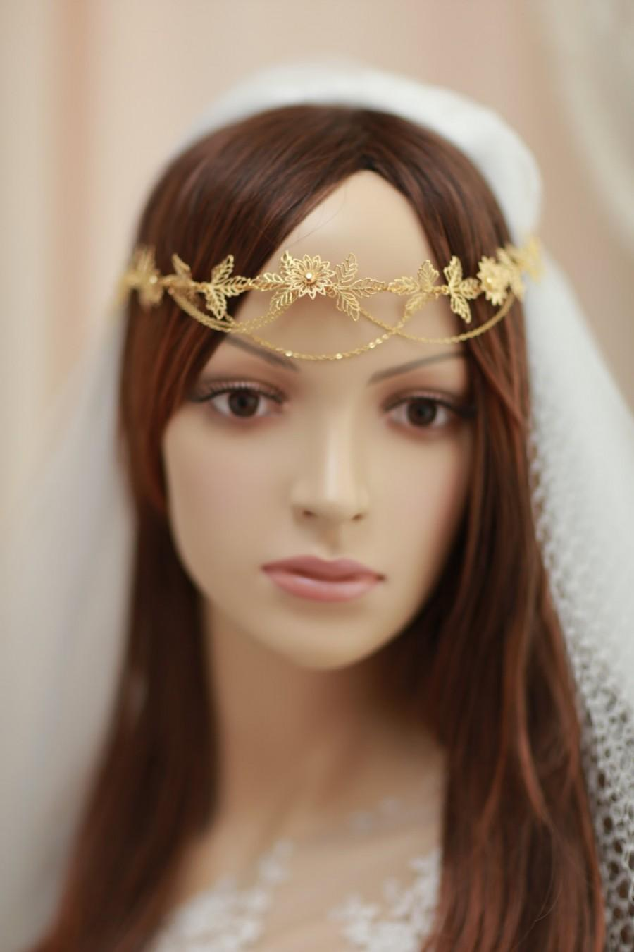 Mariage - Bridal halo, tiara, headband with swags,hand wired gold plated flowers and leaves headband- Golden crown with swags---v710