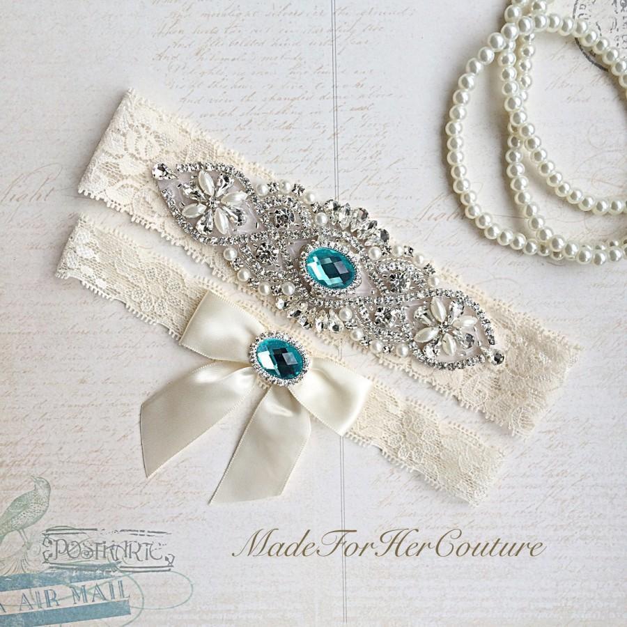 Wedding - Blue Wedding Garter, Bridal Garter Set, Stretch Lace Garter, Crystal Pearl Garter, Vintage Garter, Wedding Garter Belt-Something Blue Garter