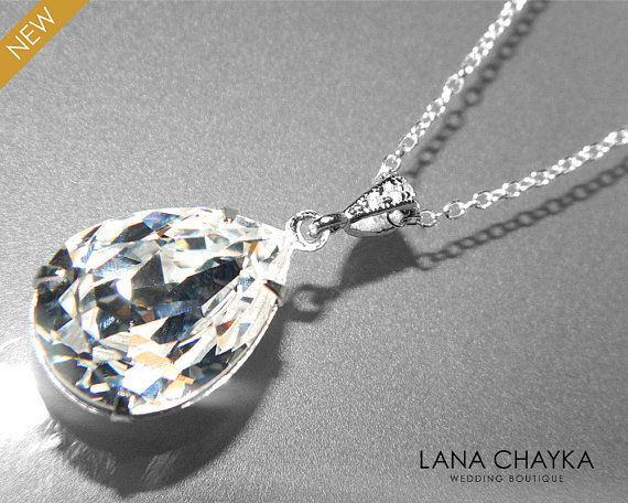 Clear crystal silver necklace teardrop crystal sterling silver clear crystal silver necklace teardrop crystal sterling silver necklace swarovski rhinestone sparkly necklace bridal pendant wedding jewelry aloadofball Gallery