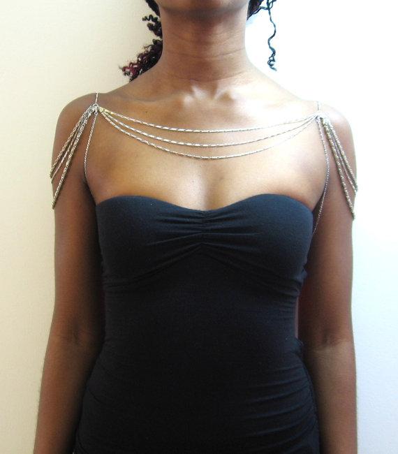 Wedding - Three layer silver chain shoulder necklace W/ underarm chain
