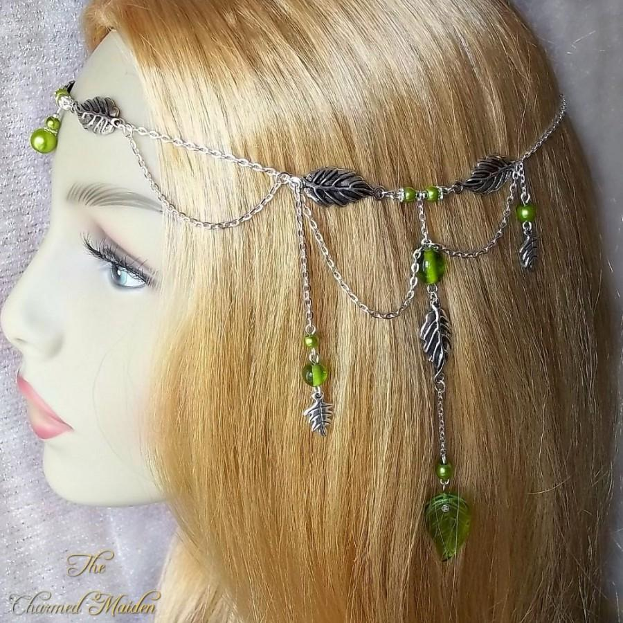 Mariage - Renaissance Elven Headdress, Woodland Fairy Headpiece, Green Leaf Circlet, Pagan Head Chain, Woodland Wedding, Forest Elf Crown, Bride, Larp